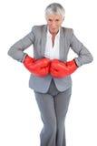 Tragende Boxhandschuhe der Geschäftsfrau lizenzfreies stockbild
