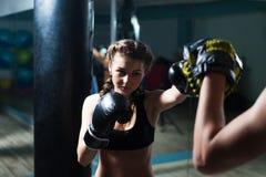 Tragende Boxhandschuhe des jungen Mädchens des Kämpferboxers geeigneten im Training Stockfotografie