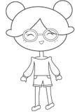 Tragende Brillen des Mädchens, die Seite färben lizenzfreie abbildung