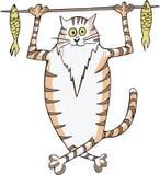 Tragende Fische der Katze auf einem Steuerknüppel Stockbilder