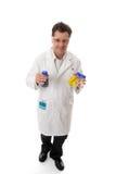 Tragende Flaschen des Wissenschaftlers Labor stockfoto