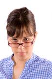 Tragende Gläser der Frau Lizenzfreie Stockbilder