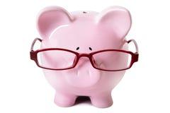 Tragende Gläser des rosa Sparschweins Lizenzfreie Stockfotos