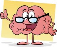 Tragende Gläser des rosafarbenen Gehirns und einen Daumen hochhalten Lizenzfreies Stockfoto