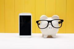 Tragende Gläser des Sparschweins mit Mobiltelefon Stockbilder