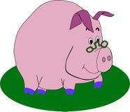 Tragende Gläser des Vektorschweins Lizenzfreie Stockfotografie
