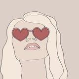 Tragende Innergläser der blonden Frau Stock Abbildung
