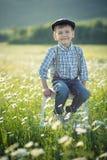 Tragende Jeans und Hemd des netten hübschen Jungen, die auf Holzstuhl auf Wiese des Kamillengänseblümchens sitzt und Sommertag he Lizenzfreie Stockfotos