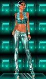 Tragende Kopfhörer des Disco-Mädchens und metallische Ausstattung Stockfotografie
