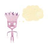 tragende Krone des lustigen Karikaturroboters mit Gedankenblase Lizenzfreies Stockbild