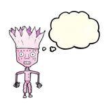 tragende Krone des lustigen Karikaturroboters mit Gedankenblase Stockbild