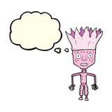 tragende Krone des lustigen Karikaturroboters mit Gedankenblase Lizenzfreie Stockfotografie