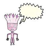 tragende Krone des lustigen Karikaturroboters mit Spracheblase Stockfoto