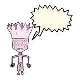 tragende Krone des lustigen Karikaturroboters mit Spracheblase Stockfotografie