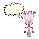 tragende Krone des lustigen Karikaturroboters mit Spracheblase Lizenzfreie Stockfotografie
