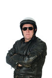 Tragende Lederjacke des Mannes und radfahrender Sturzhelm Lizenzfreie Stockfotos