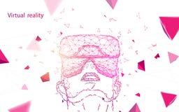 Tragende Schutzbrillen der virtuellen Realit?t des Mannes Abstrakte Linien, Dreiecke und Partikelartentwurf vektor abbildung