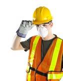 Tragende Sicherheitsausrüstung des Bauarbeiters Stockbilder