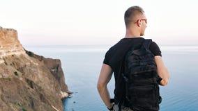Tragende Sonnenbrille und -rucksack der hinteren Ansicht aktiver athletischer Mannes, dieerstaunliche Landschaft genießen stock video