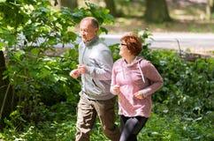 Tragende Sportkleidung und Betrieb der älteren Paare im Wald am mountai lizenzfreies stockfoto