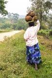 Tragende Steckfassung der afrikanischen Frau trägt auf ihrem Kopf Früchte Stockfotografie