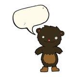 tragende Stiefel des schwarzen Bären des Karikaturteddybären mit Spracheblase Lizenzfreies Stockfoto