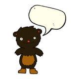 tragende Stiefel des schwarzen Bären des Karikaturteddybären mit Spracheblase Lizenzfreie Stockfotos