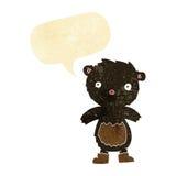 tragende Stiefel des schwarzen Bären des Karikaturteddybären mit Spracheblase Lizenzfreie Stockbilder