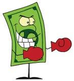 Tragende Verpackenhandschuhe des Dollarscheins betriebsbereit zum Kampf Lizenzfreies Stockbild