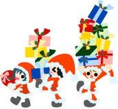 Tragende Weihnachtsgeschenke Lizenzfreies Stockfoto