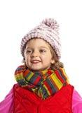 Tragende Winterkleidung des kleinen Mädchens Stockbild