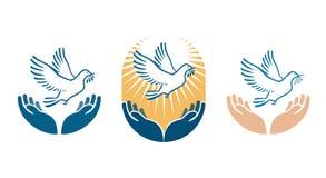 Tragender Ölzweig des Taubenvogels im Schnabel als Friedenssymbol Vektorlogo oder -ikone lizenzfreie abbildung