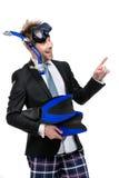 Tragender Anzug und Schutzbrillen des Geschäftsmannes mit Schnorchel lizenzfreie stockfotos