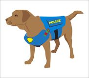 Tragender Ausweis der Polizei K9 Hunde Labrador retriever-Gewohnheits-Rauschgiftspürhund Karikatur-Training eines Polizeikonzepte stock abbildung