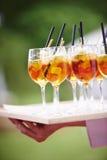 Tragender Behälter des Kellners von Cocktails mit Strohen Stockbilder