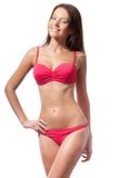 Tragender Bikini der glücklichen Frau Stockfoto