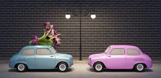 Tragender Blumenstrauß des Autos von Blumen 3d übertragen Illustration 3d Lizenzfreie Stockbilder