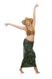 Tragender Cowboyhut der Frau lokalisiert Lizenzfreies Stockfoto