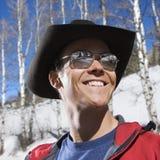 Tragender Cowboyhut des Mannes. Lizenzfreie Stockfotos