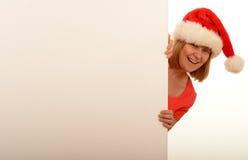 Tragender Hut der Frau Weihnachts Stockbild