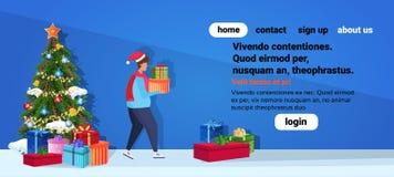 Tragender Hut des Mannes tragen Zeichentrickfilm-Figur-Profil des Konzeptes der frohen Weihnachten des Geschenkboxguten rutsch in vektor abbildung