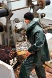 Tragender Kasten des Fischers mit Fischen Stockfotos