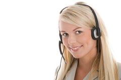 Tragender Kopfhörer der Frau Stockfotos