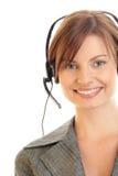 Tragender Kopfhörer des Bedieners stockbilder