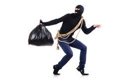 Tragender Kopfschutz des Einbrechers Stockfoto