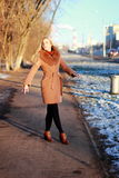 Tragender Mantel der jungen Frau, der hinunter die Straße, kalter Winter DA geht Lizenzfreies Stockfoto