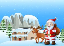 Tragender Sack Weihnachtsmanns mit Rotwild im schneienden Dorf lizenzfreie abbildung