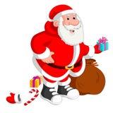 Tragender Sack Weihnachtsmanns voll Geschenke stock abbildung