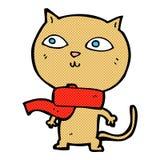 tragender Schal der komischen Katze der Karikatur lustigen Lizenzfreies Stockbild