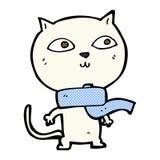 tragender Schal der komischen Katze der Karikatur lustigen Lizenzfreie Stockfotografie